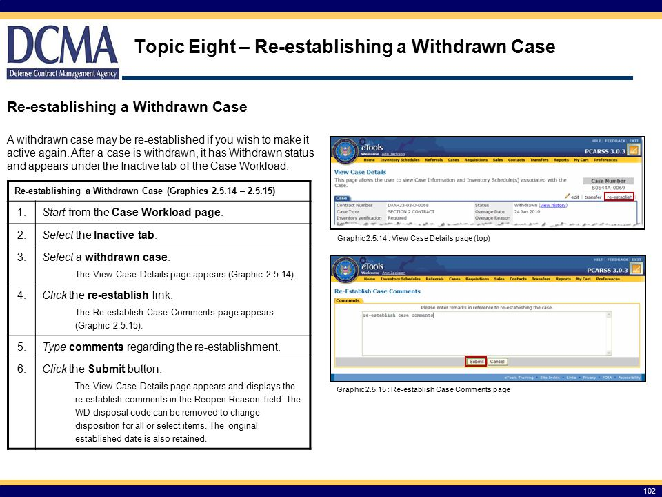 Topic Eight – Re-establishing a Withdrawn Case