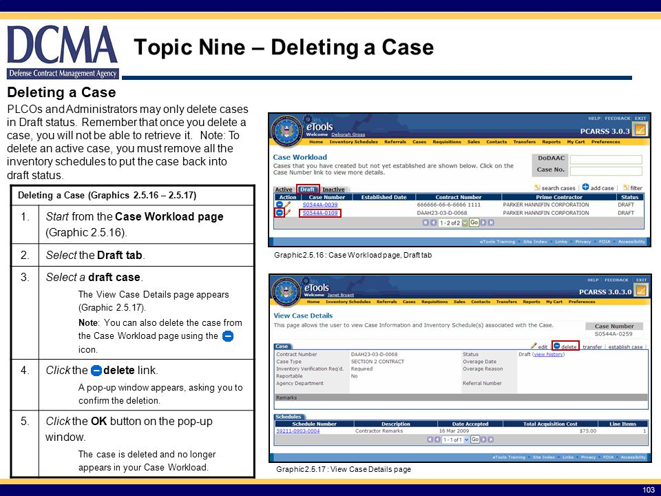 Topic Nine – Deleting a Case