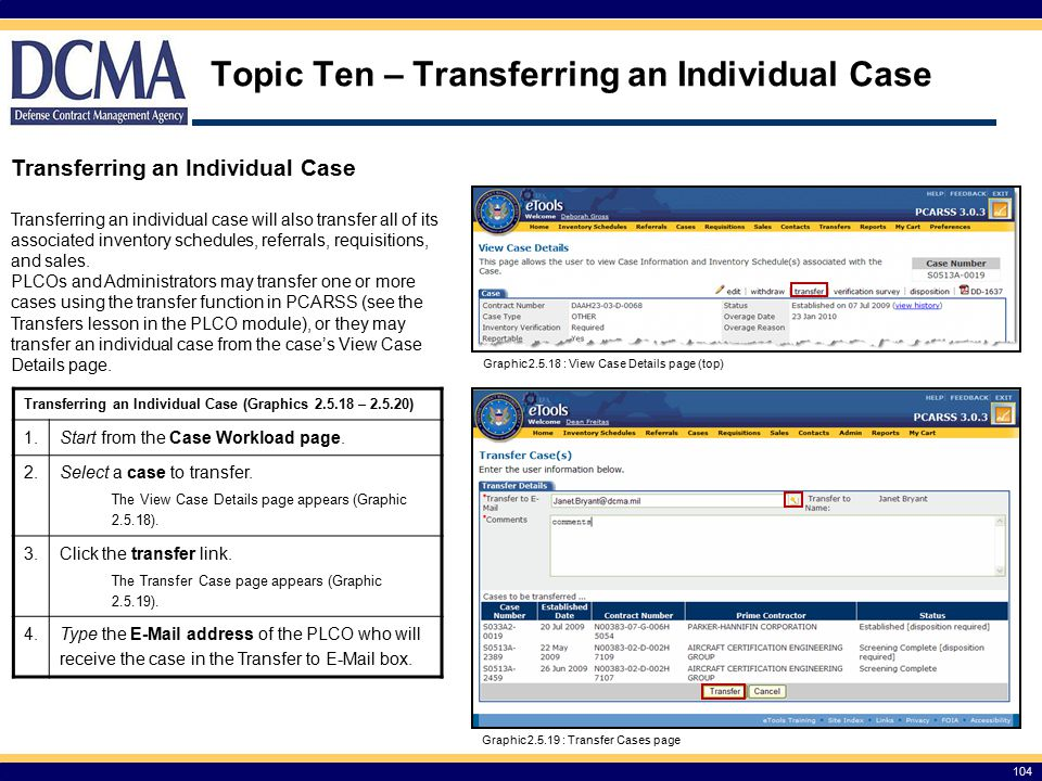 Topic Ten – Transferring an Individual Case