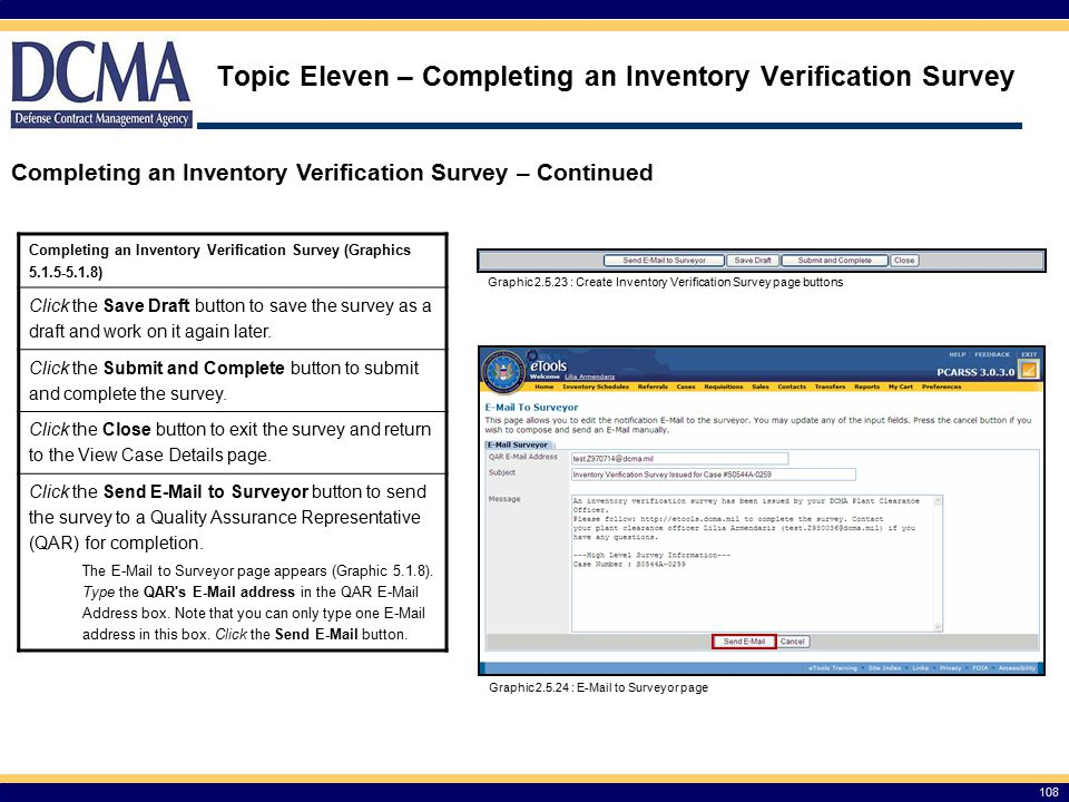 Topic Eleven – Completing an Inventory Verification Survey