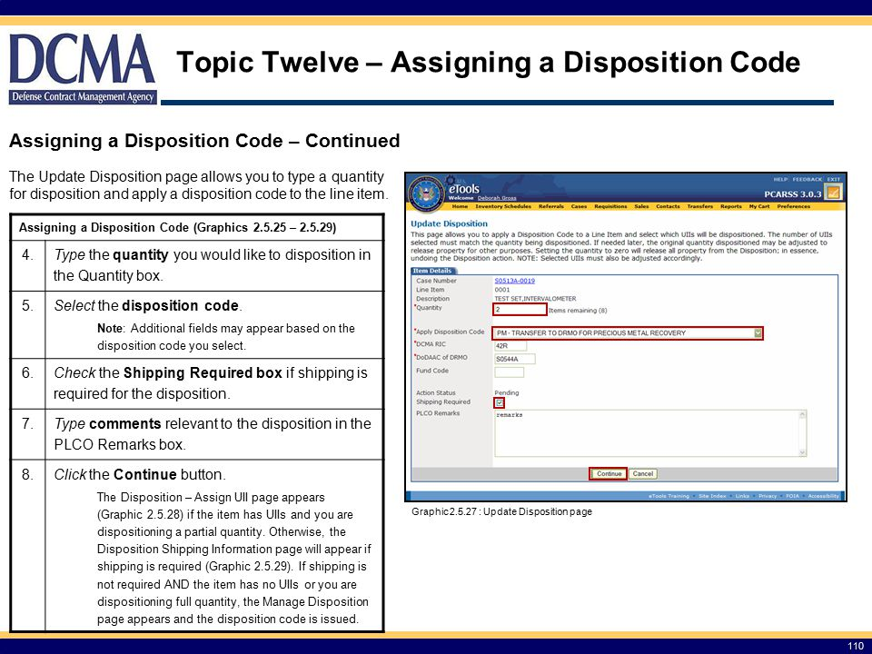 Topic Twelve – Assigning a Disposition Code