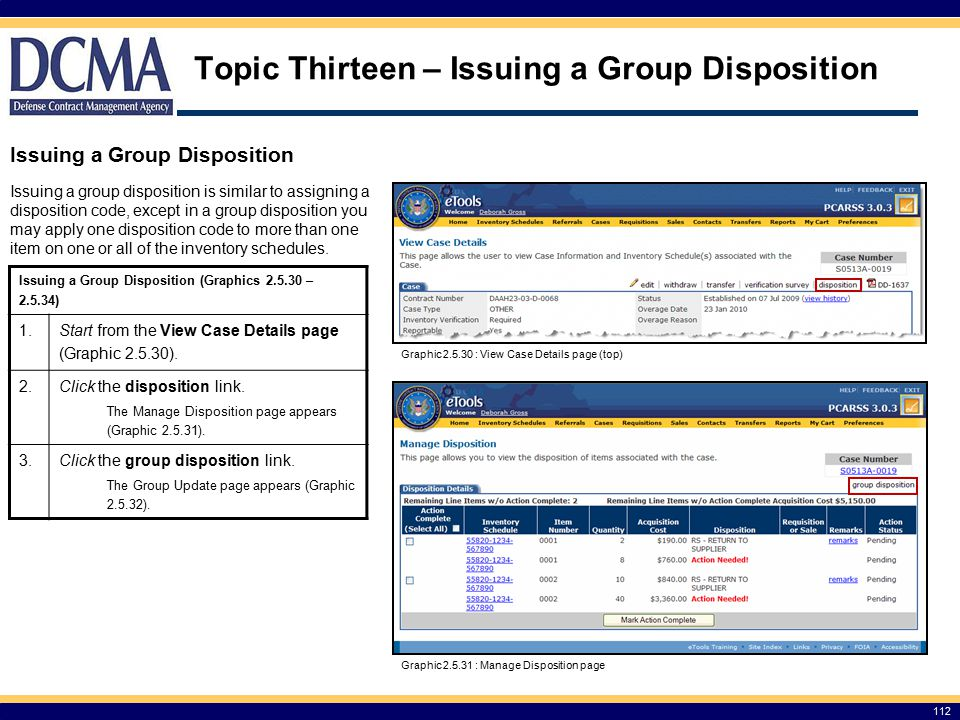 Topic Thirteen – Issuing a Group Disposition