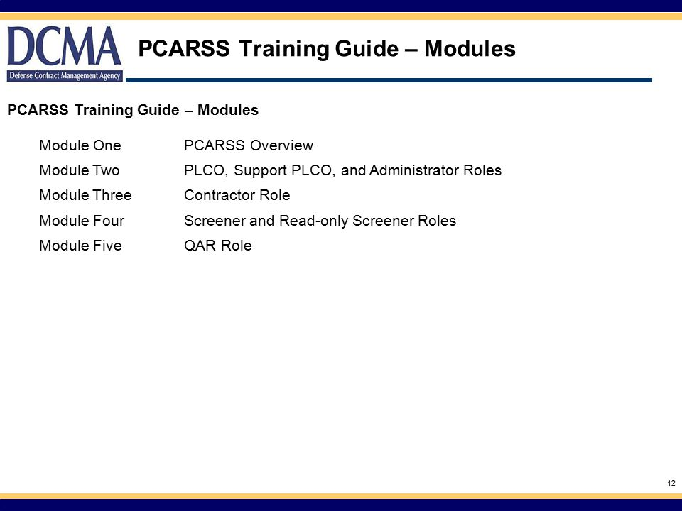 PCARSS Training Guide – Modules