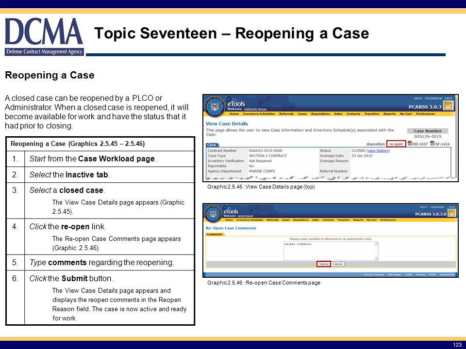 Topic Seventeen – Reopening a Case