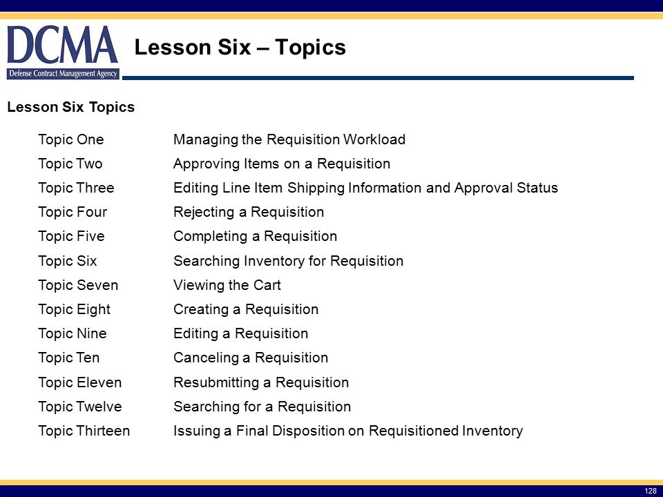 Lesson Six – Topics Lesson Six Topics Topic One