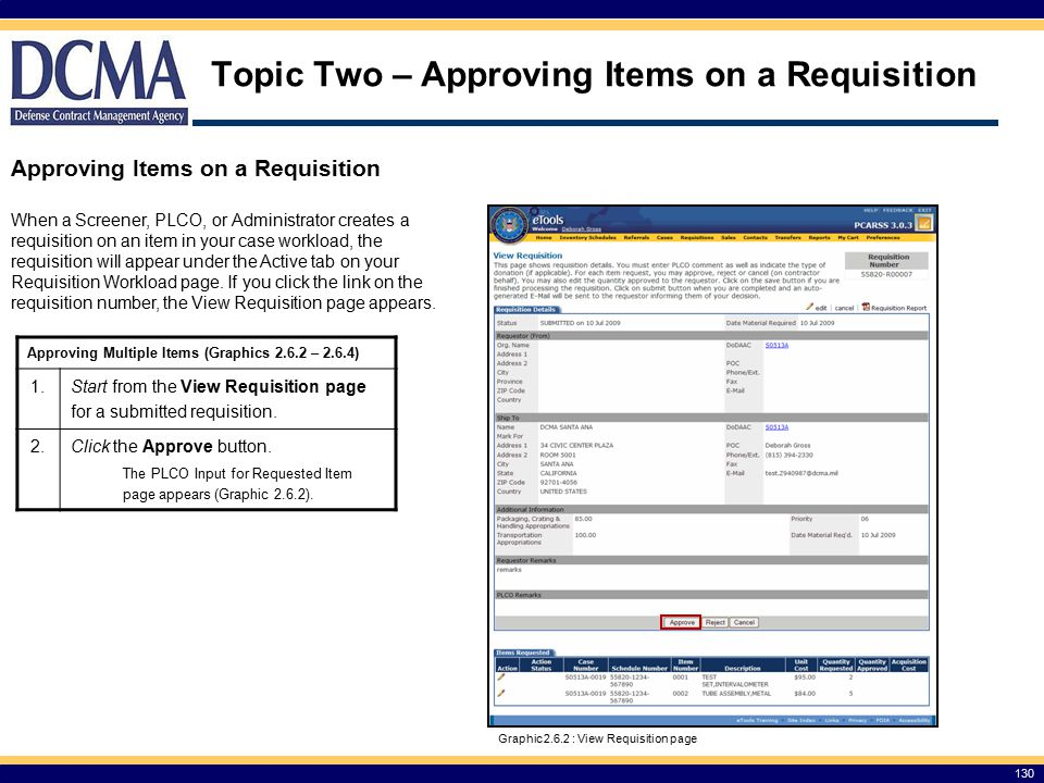 Topic Two – Approving Items on a Requisition