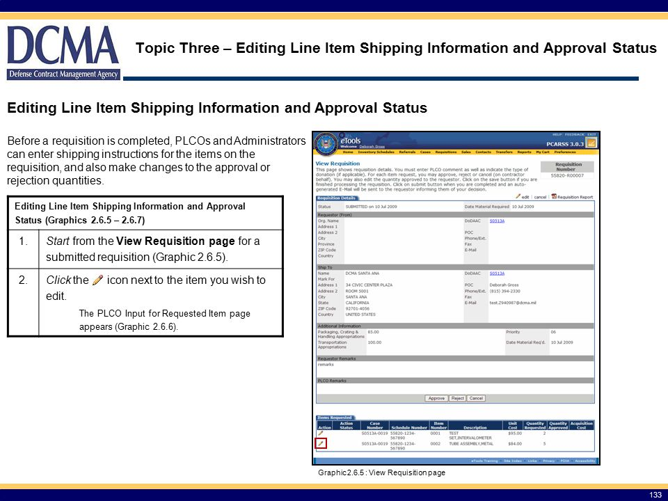 Editing Line Item Shipping Information and Approval Status