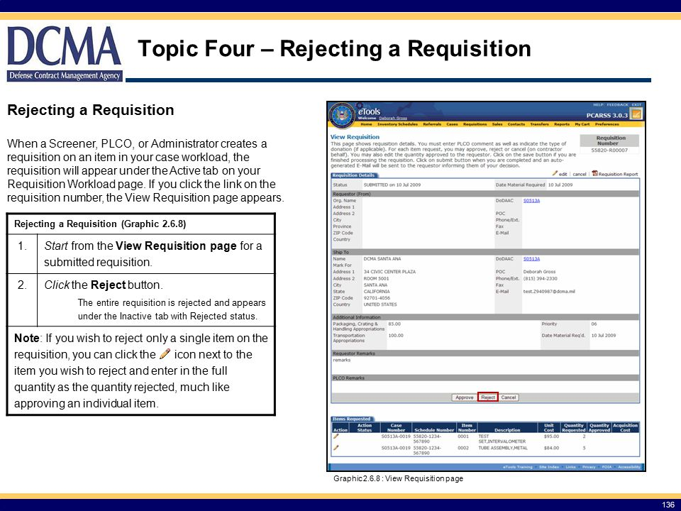 Topic Four – Rejecting a Requisition