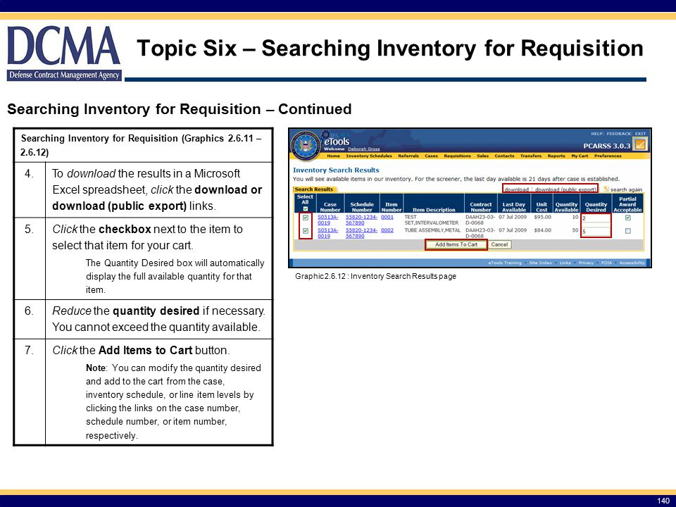 Topic Six – Searching Inventory for Requisition
