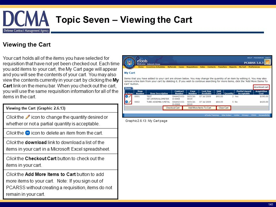 Topic Seven – Viewing the Cart