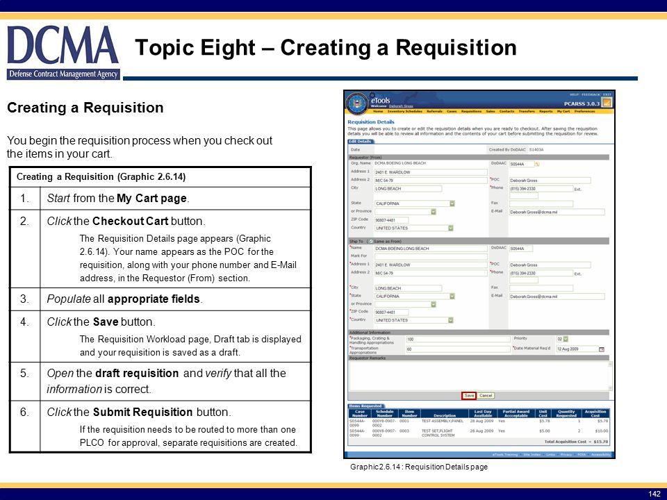 Topic Eight – Creating a Requisition