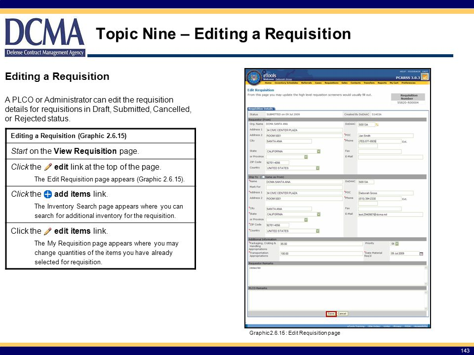 Topic Nine – Editing a Requisition