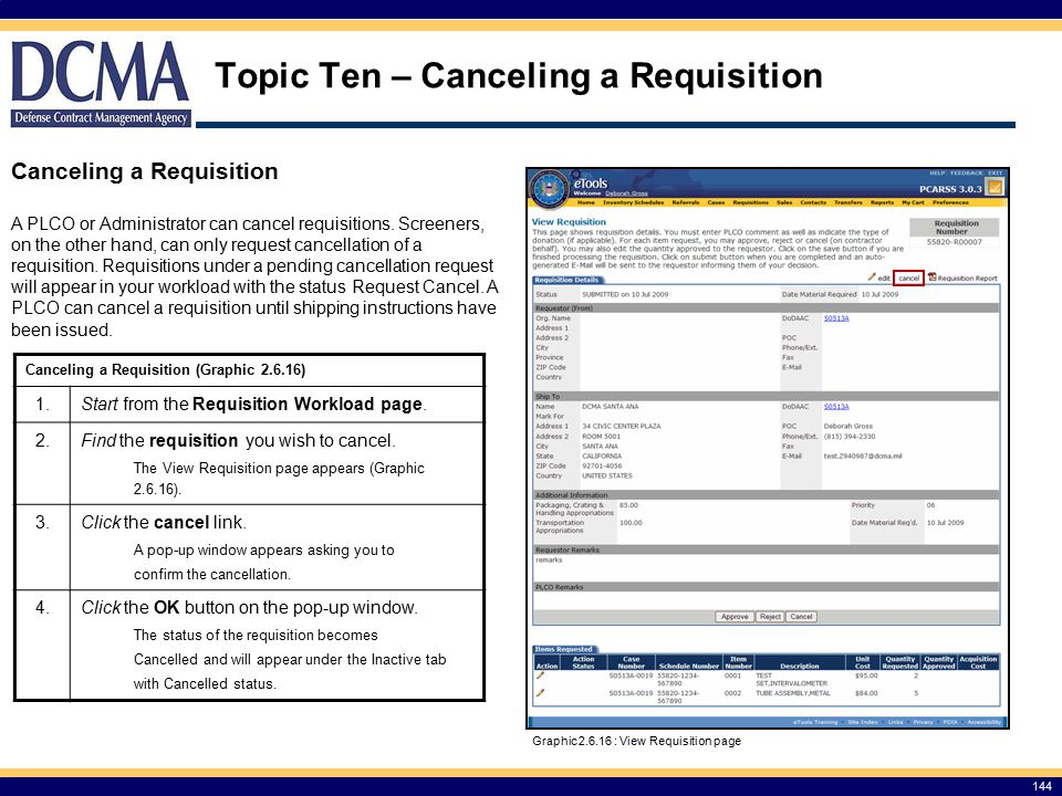 Topic Ten – Canceling a Requisition