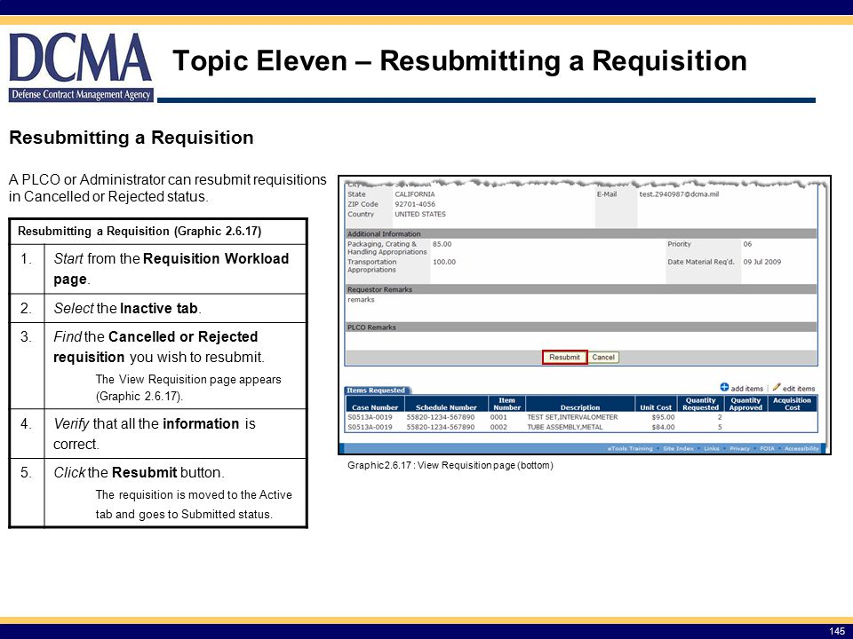 Topic Eleven – Resubmitting a Requisition