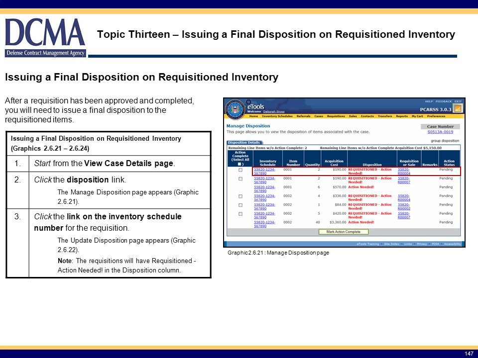 Issuing a Final Disposition on Requisitioned Inventory