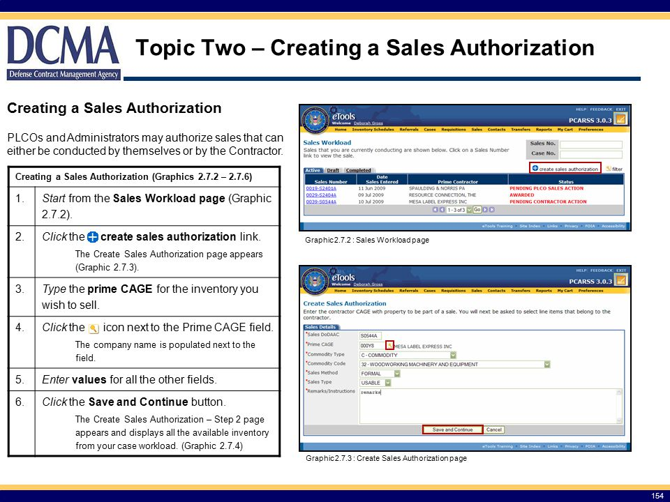 Topic Two – Creating a Sales Authorization