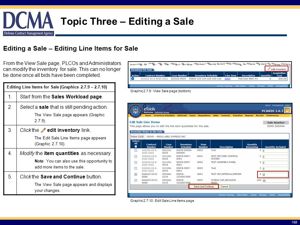 Topic Three – Editing a Sale