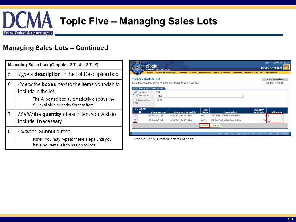 Topic Five – Managing Sales Lots