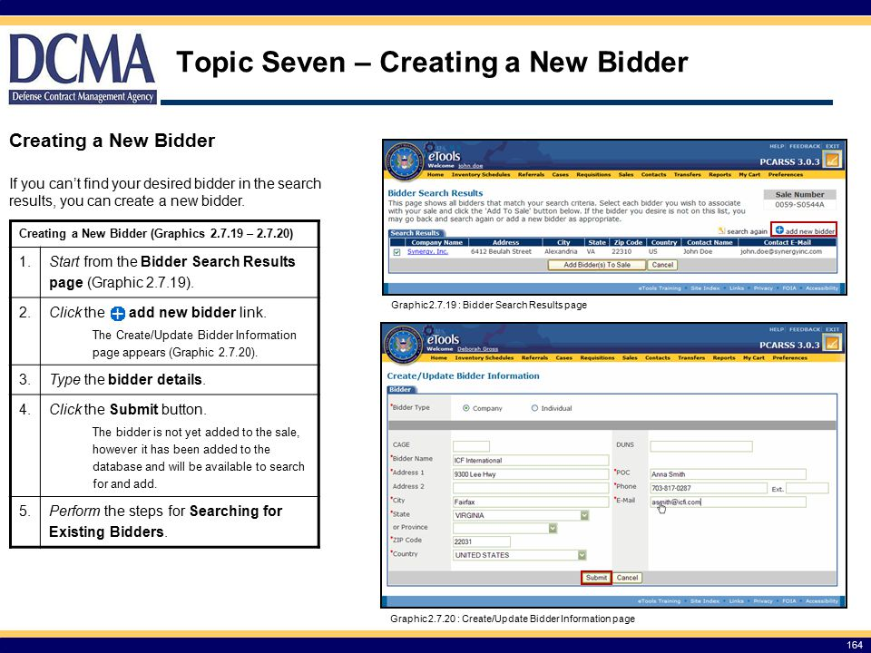 Topic Seven – Creating a New Bidder