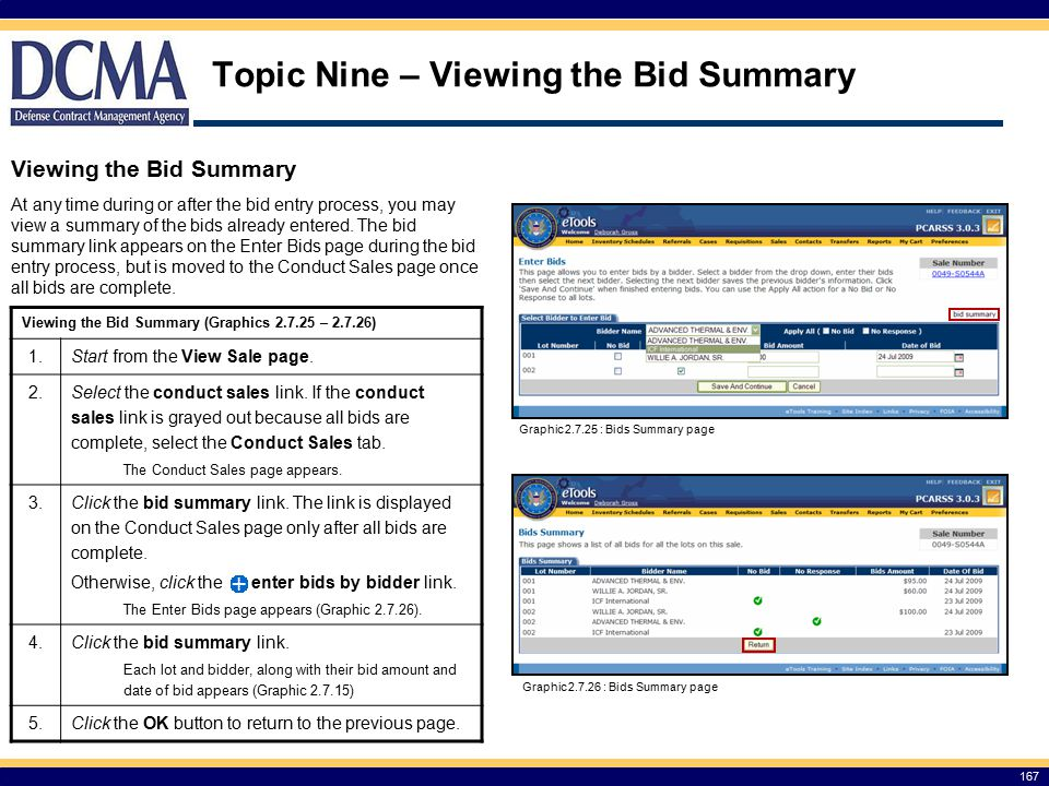 Topic Nine – Viewing the Bid Summary