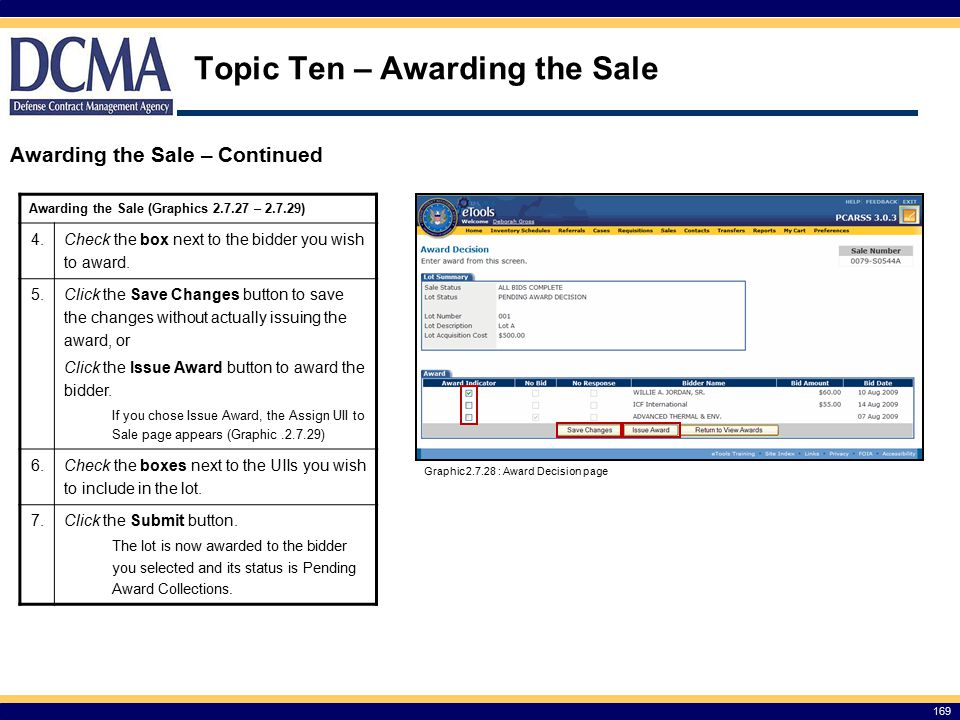 Topic Ten – Awarding the Sale