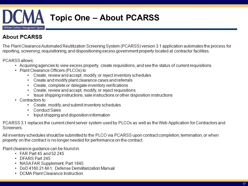 Topic One – About PCARSS