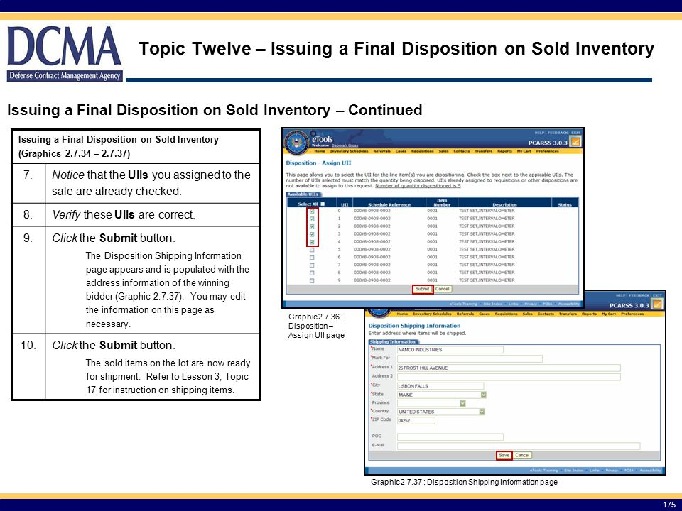 Topic Twelve – Issuing a Final Disposition on Sold Inventory