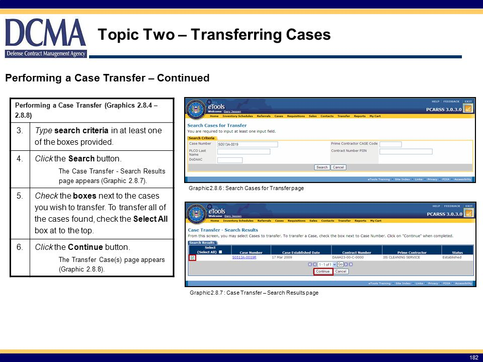 Topic Two – Transferring Cases