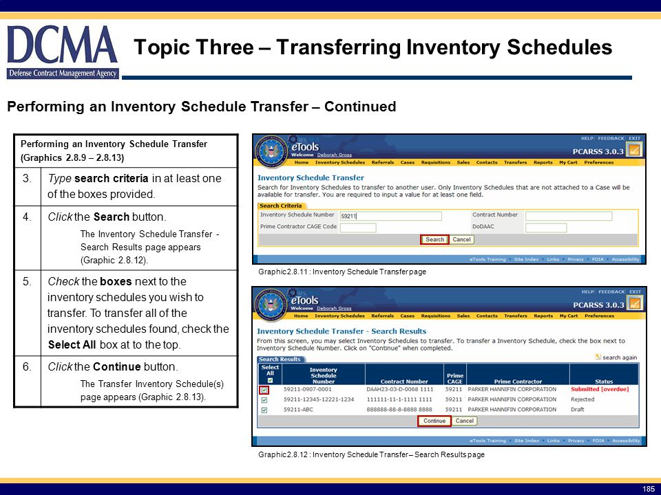 Topic Three – Transferring Inventory Schedules
