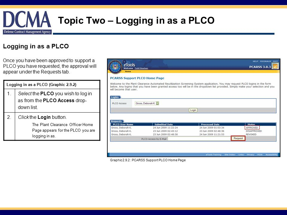 Topic Two – Logging in as a PLCO