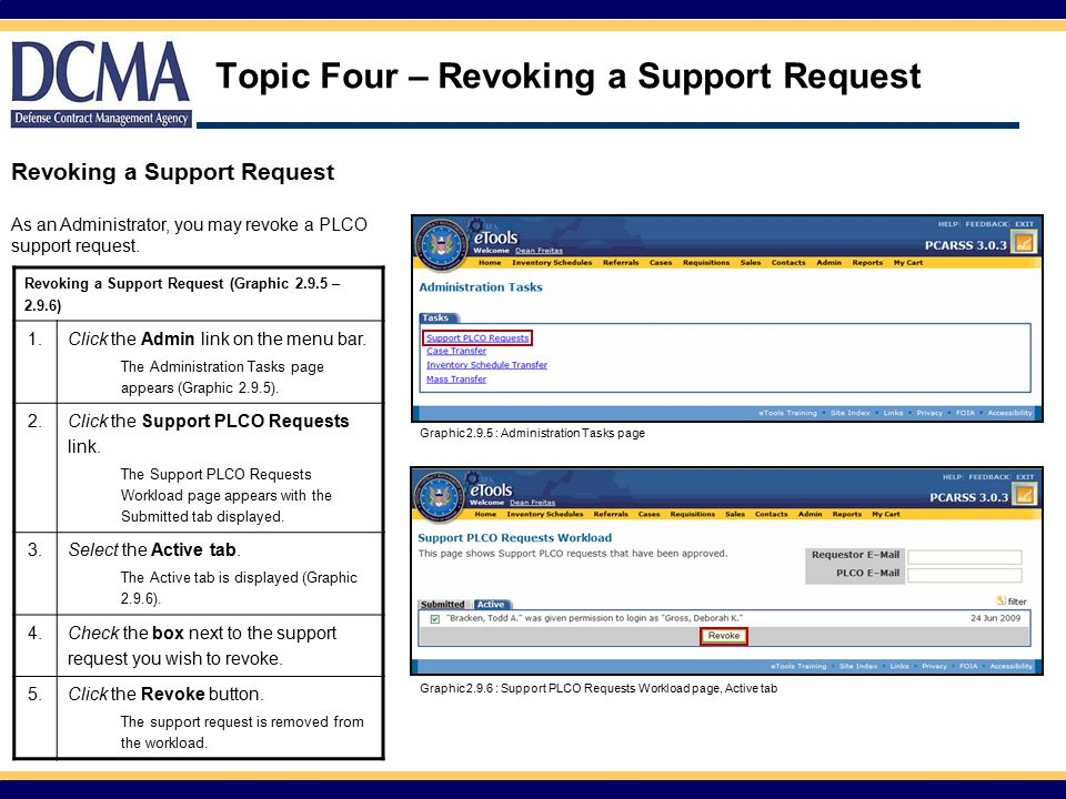 Topic Four – Revoking a Support Request