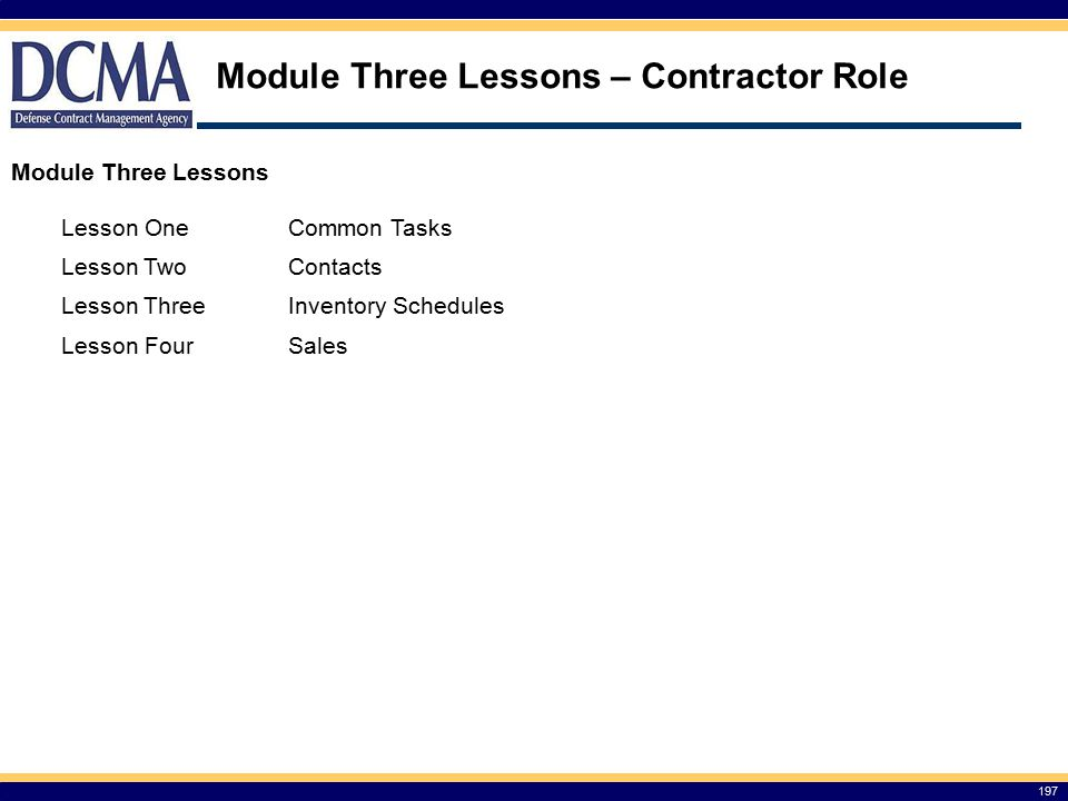 Module Three Lessons – Contractor Role