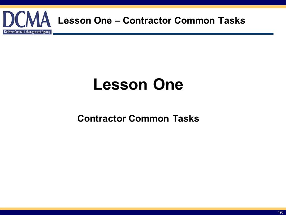 Lesson One – Contractor Common Tasks