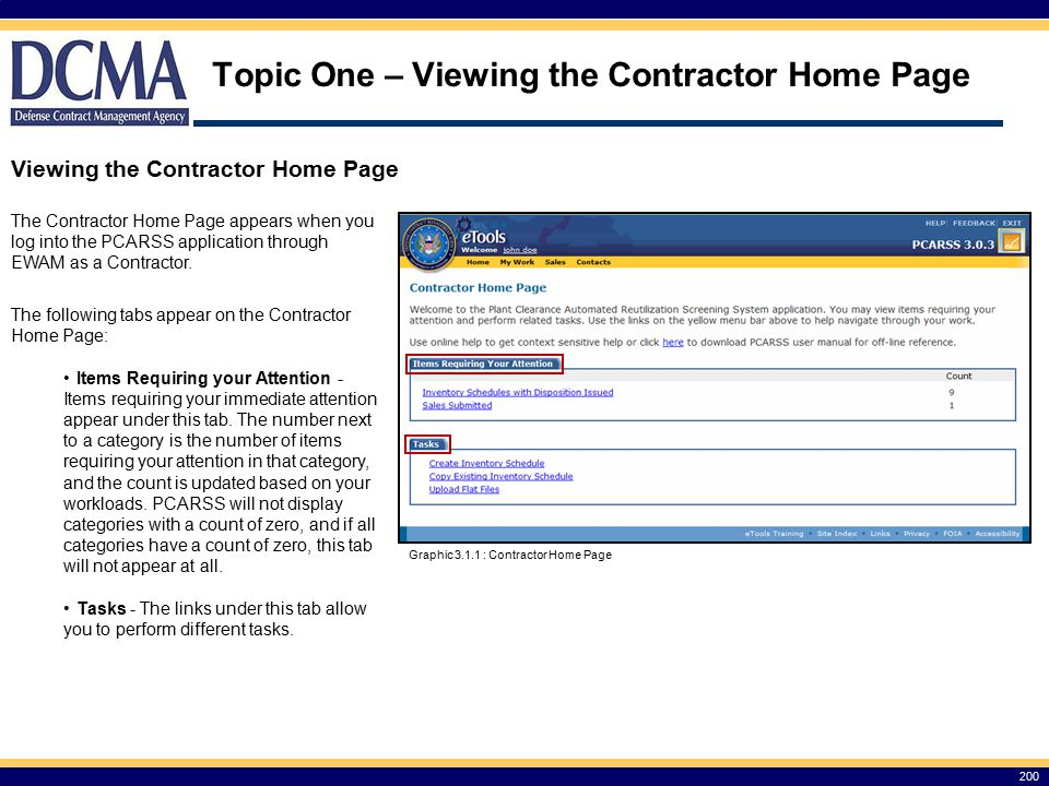 Topic One – Viewing the Contractor Home Page