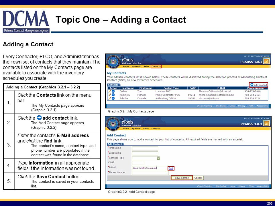 Topic One – Adding a Contact