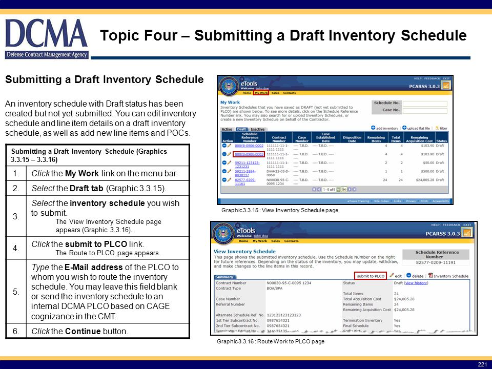 Topic Four – Submitting a Draft Inventory Schedule