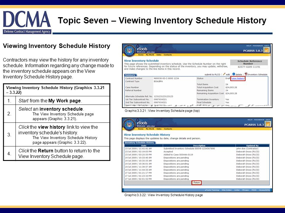 Topic Seven – Viewing Inventory Schedule History