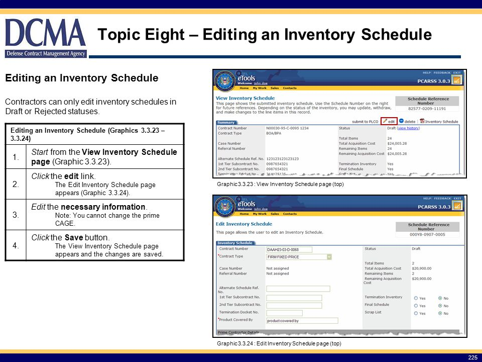 Topic Eight – Editing an Inventory Schedule