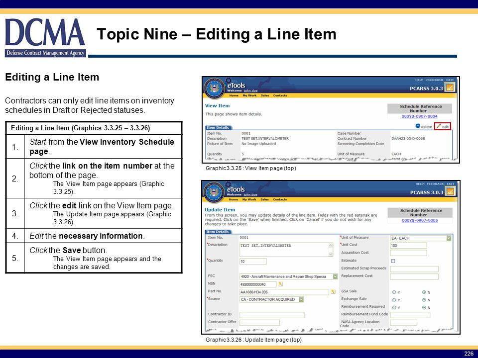 Topic Nine – Editing a Line Item