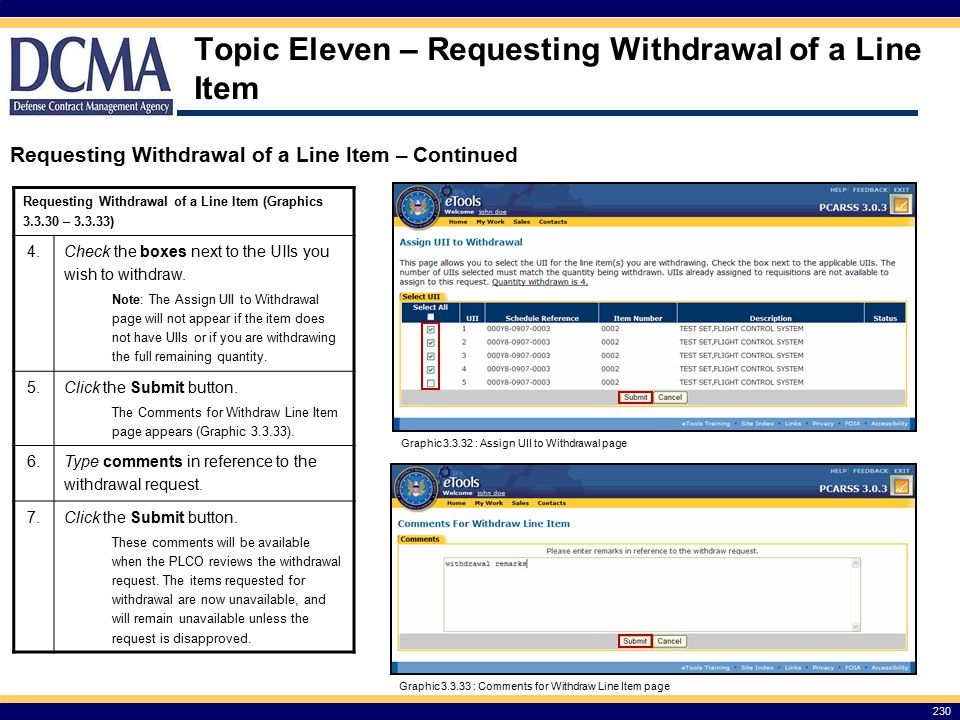 Topic Eleven – Requesting Withdrawal of a Line Item