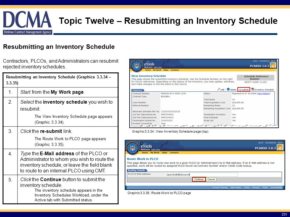 Topic Twelve – Resubmitting an Inventory Schedule