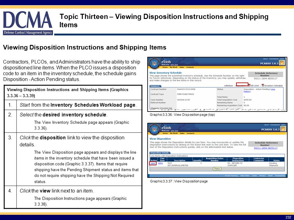 Topic Thirteen – Viewing Disposition Instructions and Shipping Items
