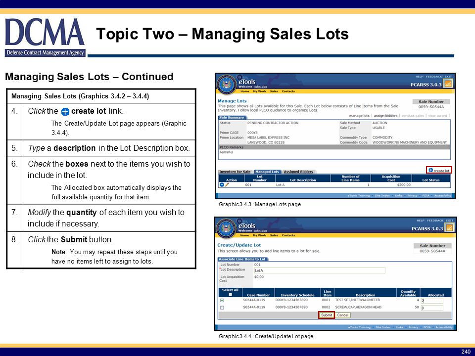 Topic Two – Managing Sales Lots