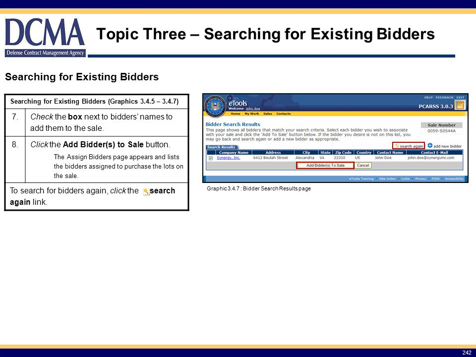 Topic Three – Searching for Existing Bidders