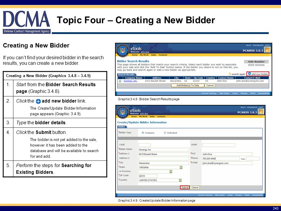 Topic Four – Creating a New Bidder
