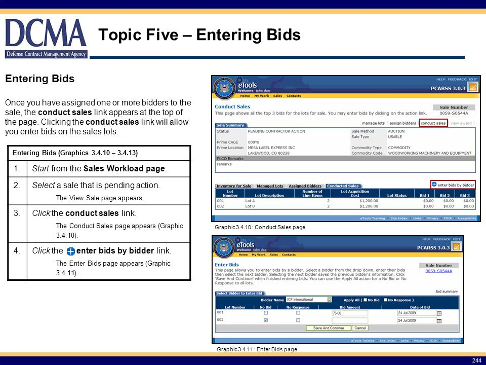 Topic Five – Entering Bids