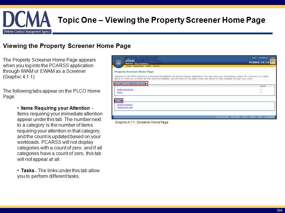 Topic One – Viewing the Property Screener Home Page