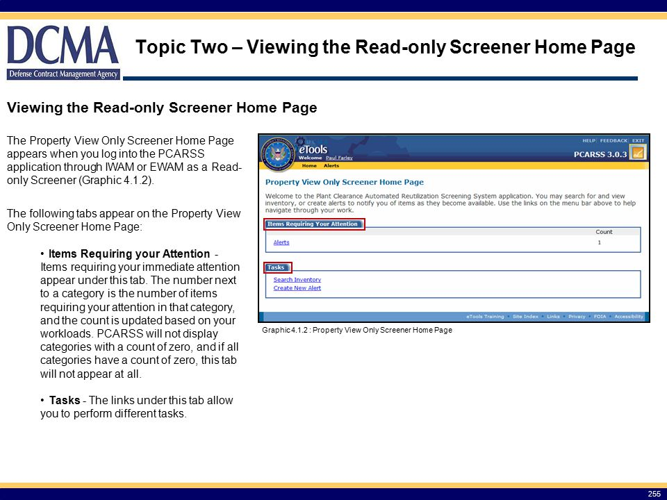 Topic Two – Viewing the Read-only Screener Home Page