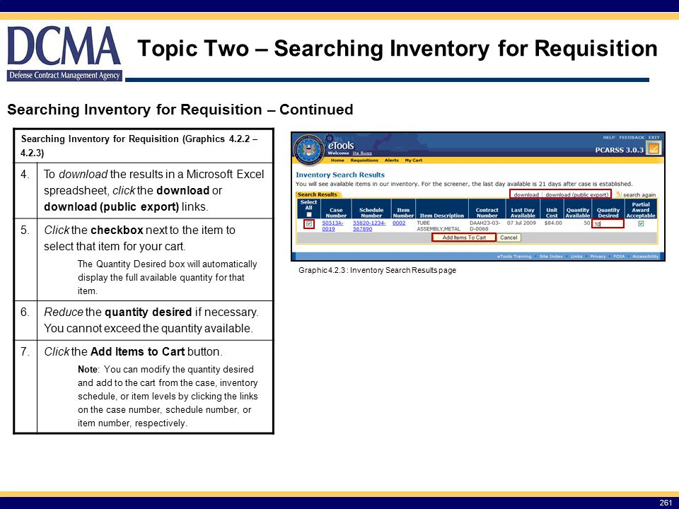 Topic Two – Searching Inventory for Requisition