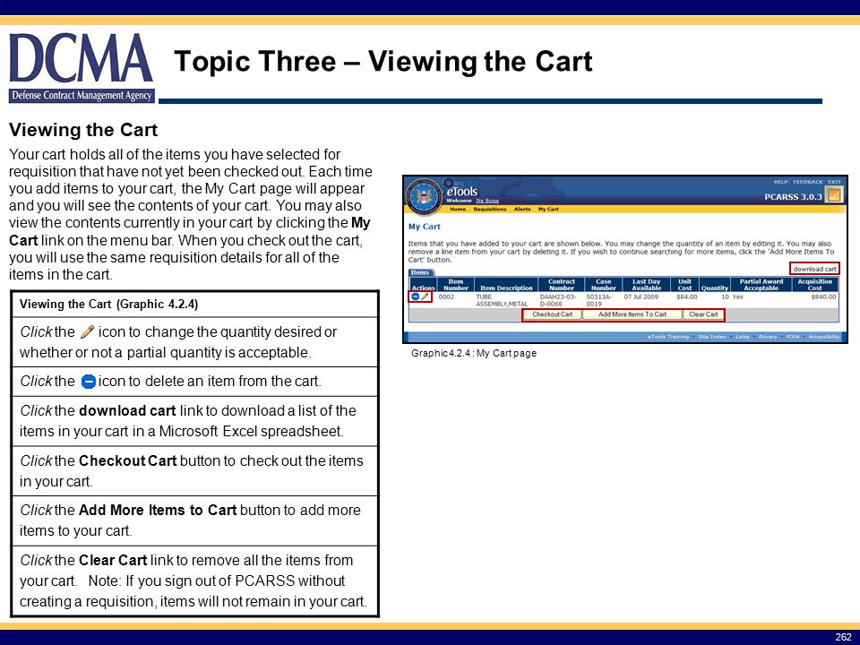 Topic Three – Viewing the Cart